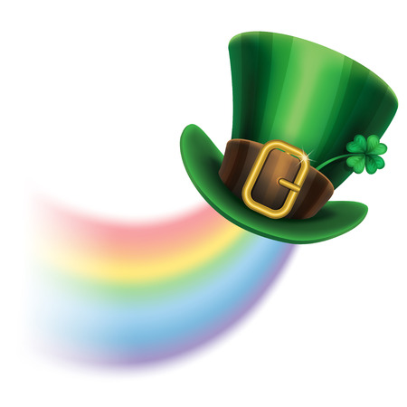 top hat cartoon: St. Patricks Day green leprechaun hat with clover and rainbow, St.Patricks Day symbol. St.Patricks Day background. Vector illustration
