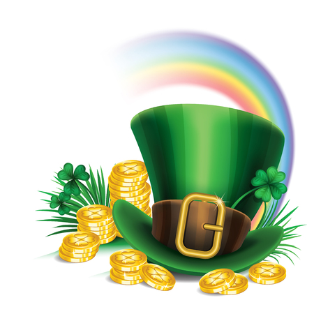 top hat cartoon: St. Patricks Day green leprechaun hat with clover, gold coins and rainbow, St.Patricks Day symbol. St.Patricks Day background. Vector illustration