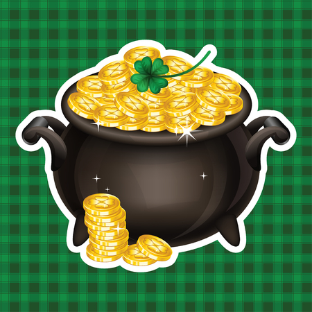 gold coin: Pot Of Gold, Magical Treasure, St. Patricks Day symbol. Vector illustration Illustration
