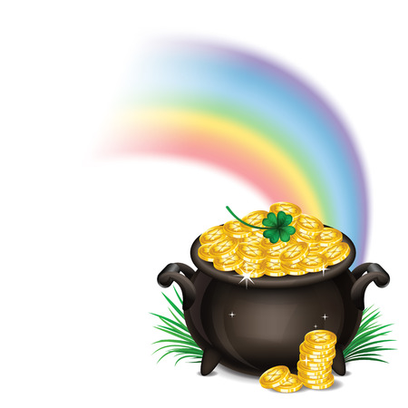 gold icon: St.Patricks Day background with Pot Of Gold, Magical Treasure, St. Patricks Day symbol. Vector illustration
