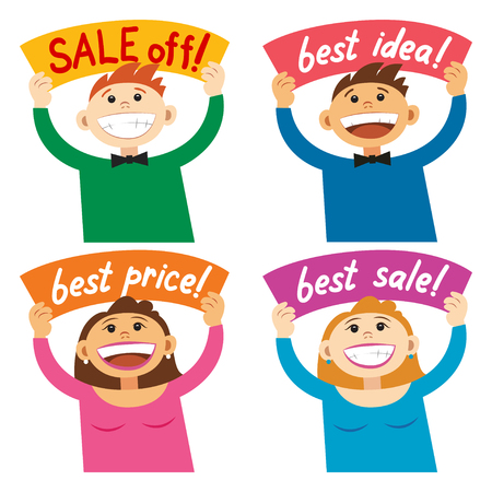 girl happy: Funny cartoon people holding sign Sale off, Best price Smiling happy people, with poster signboard. Vector illustration
