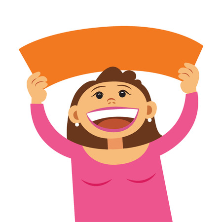 joking: Funny cartoon woman holding blank sign. Smiling happy girl, with empty blank poster signboard, cartoon illustration. Girl holding text board Illustration