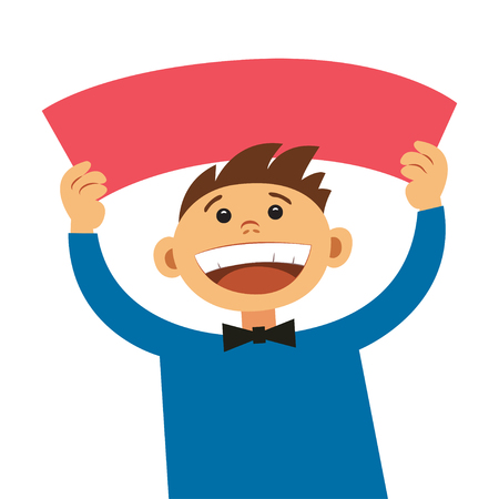 joking: Funny cartoon man holding blank sign. Smiling happy boy, with empty blank poster signboard, cartoon illustration. Boy holding text board