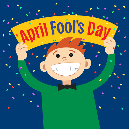 Funny cartoon man holding sign April Fools Day. Smiling happy boy, with poster signboard. Vector illustration