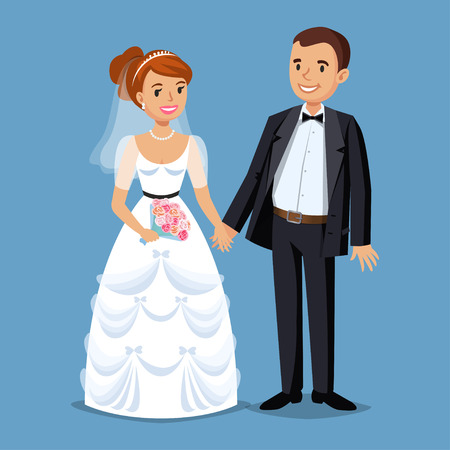 wedding celebration: Cute Bride and groom, Wedding Party set illustration. Cartoon Wedding people couple. Vector illustration