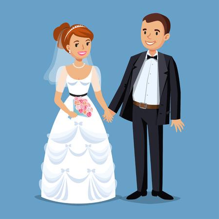 Nette Braut und Bräutigam, Hochzeit gesetzt Illustration. Cartoon Hochzeit Menschen Paar. Vektor-Illustration Standard-Bild - 53256203