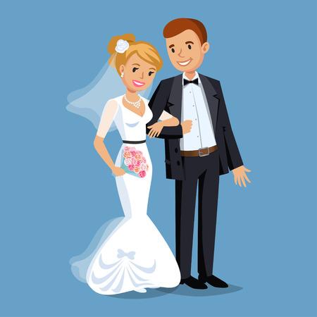 Bride mignon et le marié, Fête de mariage mis illustration. Cartoon gens de mariage couple. Vector illustration
