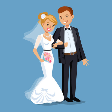 Linda novia y el novio, banquete de boda establece la ilustración. Gente de la historieta de la boda pareja. ilustración vectorial