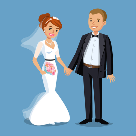 Cute Bride and groom, Wedding Party set illustration. Cartoon Wedding people couple. Vector illustration