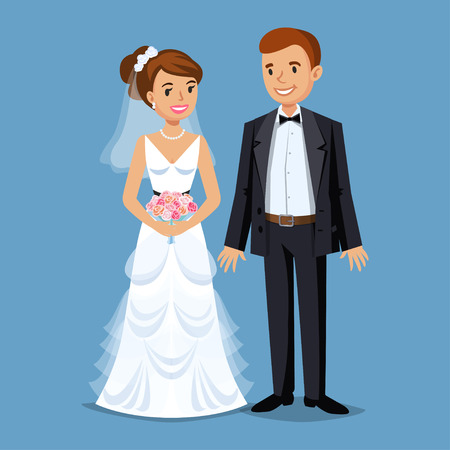girl happy: Cute Bride and groom, Wedding Party set illustration. Cartoon Wedding people couple. Vector illustration