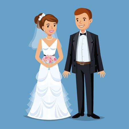 Linda novia y el novio, banquete de boda establece la ilustración. Gente de la historieta de la boda pareja. ilustración vectorial Ilustración de vector