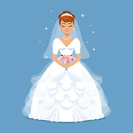 cartoon bouquet: Elegant Bride in Wedding dress in classic, retro, vintage styles. Wedding fashion illustration. Cartoon girl, woman, vector illustration