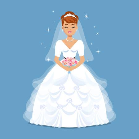 Novia elegante en vestido de boda en el clásico, retro, estilos de época. Ejemplo de la moda de la boda. Niña de dibujos animados, mujer, ilustración vectorial Ilustración de vector