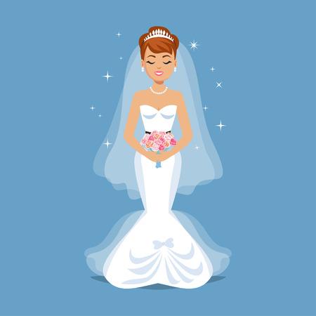 female girl: Elegant Bride in Wedding dress in modern styles. Wedding fashion illustration. Cartoon girl, woman, vector illustration