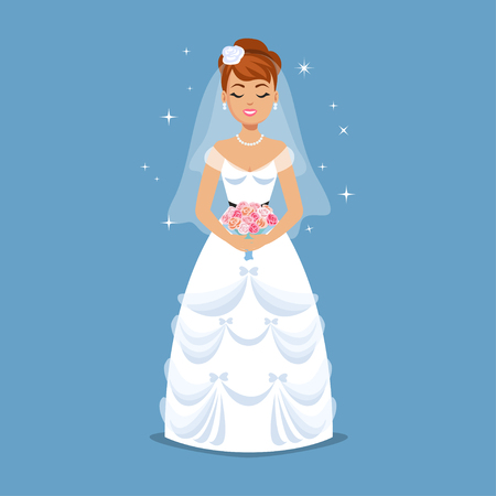 beauty girl pretty: Elegant Bride in Wedding dress in classic styles. Wedding fashion illustration. Cartoon girl, woman, vector illustration