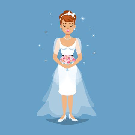 young girl: Elegant Bride in Wedding dress in modern styles. Wedding fashion illustration. Cartoon girl, woman, vector illustration