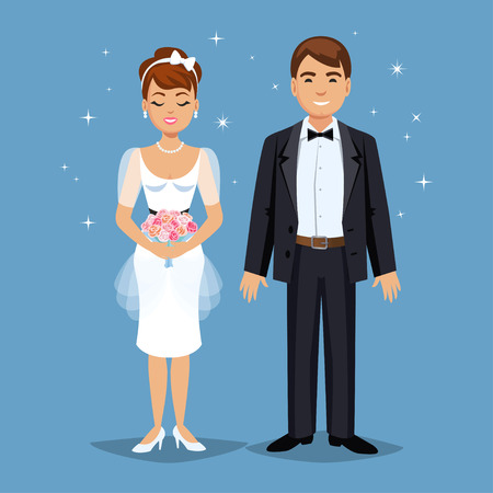 happy family smiling: Cute Bride and groom, Wedding Party set illustration. Cartoon Wedding people couple. Vector illustration