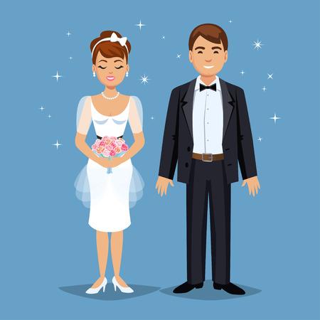hombre caricatura: Linda novia y el novio, banquete de boda establece la ilustraci�n. Gente de la historieta de la boda pareja. ilustraci�n vectorial Vectores