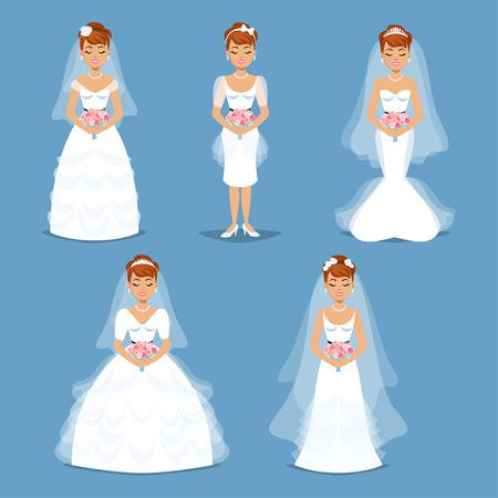 beauty girl pretty: Elegant Brides in Wedding dresses in Different modern styles. Wedding fashion set illustration. Cartoon girl, woman, vector illustration Illustration