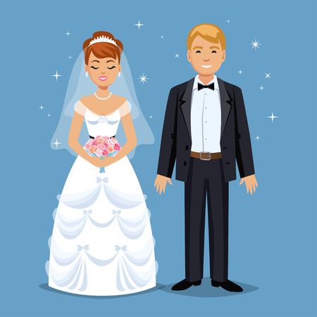 family human: Cute Bride and groom, Wedding Party set illustration. Cartoon Wedding people couple. Vector illustration