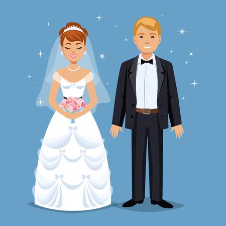 wedding bride: Cute Bride and groom, Wedding Party set illustration. Cartoon Wedding people couple. Vector illustration