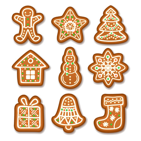 set of gingerbread christmas cookies decorated icing holiday cookie in shape of christmas xmas tree - Christmas Cookie Decorations