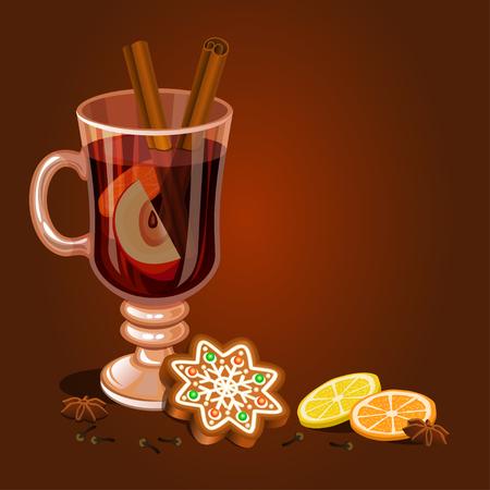 Glühwein und Lebkuchen Weihnachtsplätzchen, verziert Vereisung. Urlaub Weihnachten Hintergrund für Weihnachten, Winterurlaub, neujahrstag Design. Vektor-Illustration