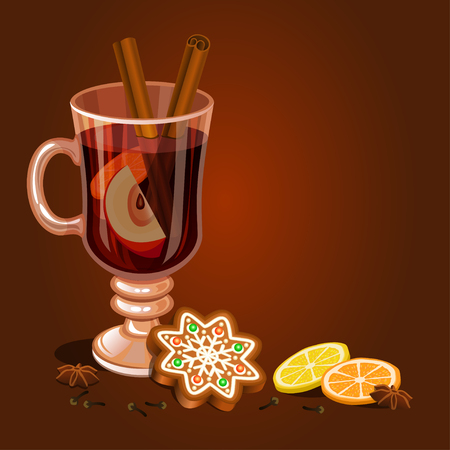 Mulled wine and Gingerbread Christmas cookie, decorated icing. Holiday Xmas background for christmas, winter holiday, new years day design. Vector illustration Illustration