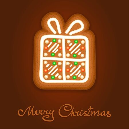icing: Gingerbread Christmas gift decorated icing. Holiday cookie in shape of Christmas gift for christmas, winter holiday, new years day, new years sweet pastry. Vector illustration