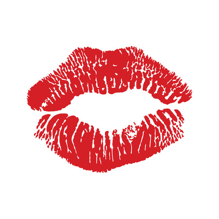 imprint: Lipstick kiss isolated on white, design element. Print of lips. illustration. Red lips imprint Illustration