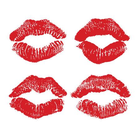 beso labios: beso del lápiz labial aislado en blanco, los labios fijó, elemento de diseño. Impresión de labios. ilustración. labios rojos impresiones
