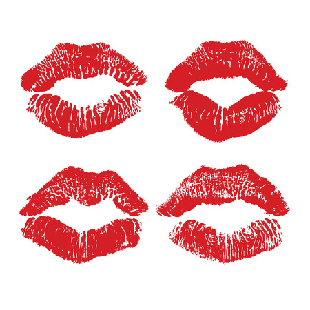 Lipstick kiss isolated on white, lips set, design element. Print of lips. illustration. Red lips imprints Ilustração