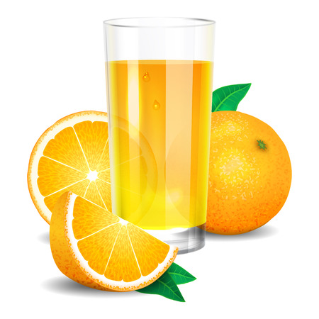 antioxidant: Fresh orange juice and pieces of orange, citrus juice and oranges. Realistic transparent glass of juice