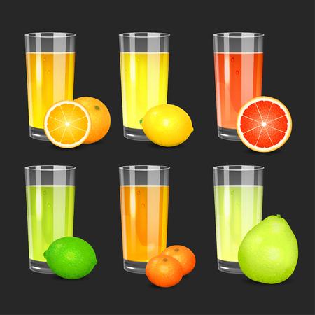 squeezed: Set of fresh citrus juices. Realistic transparent glasses with squeezed citrus juices. Citrus fruits (orange, lemon, lime, grapefruit, pomelo, mandarin).