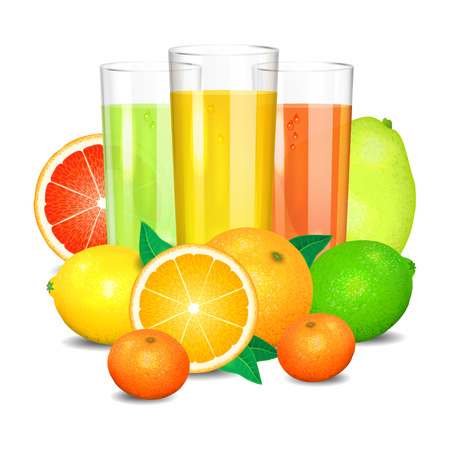 Fresh citrus juice and fruits. Citrus fruits (orange, lemon, lime, grapefruit, pomelo, mandarin).