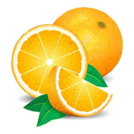 lobule: Fresh oranges fruit, pieces of orange