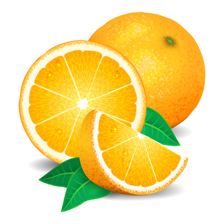 dewdrop: Fresh oranges fruit, pieces of orange