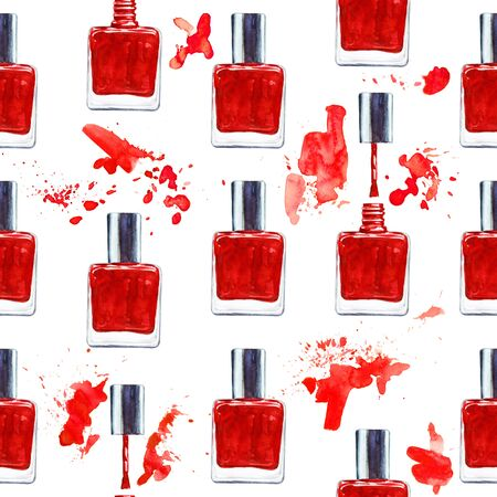 nailpolish: Seamless watercolor pattern with red nail polish on white background. Hand drawn cosmetics background. Fashion glamour pattern. Illustration for your design
