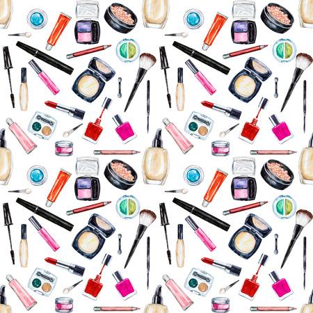 lip gloss: Seamless watercolor pattern with cosmetic, beauty items, mascara, lipstick, foundation cream, brushes, eye shadow, nail polish, powder, lip gloss. Stock Photo
