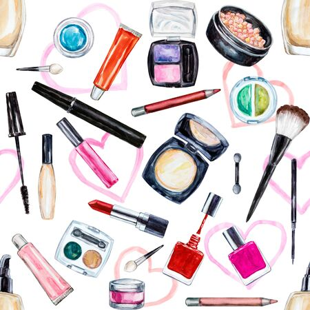 femininity: Seamless watercolor pattern with cosmetic, beauty items, mascara, lipstick, foundation cream, brushes, eye shadow, nail polish, powder, lip gloss. Stock Photo