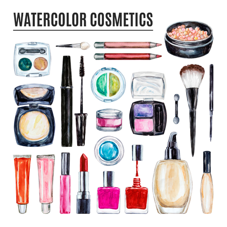 Set of various watercolor decorative cosmetic. Makeup products, beauty items, mascara, lipstick, foundation cream, brushes, eye shadow, nail polish, powder, lip gloss. Hand drawn cosmetics