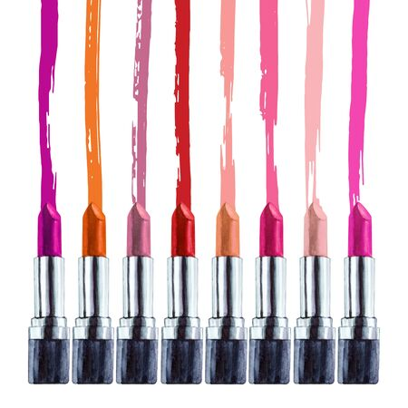 Set of watercolor lipstick, aquarelle colored lipstick. Hand drawn cosmetics background. Fashion glamour background. Illustration for your design