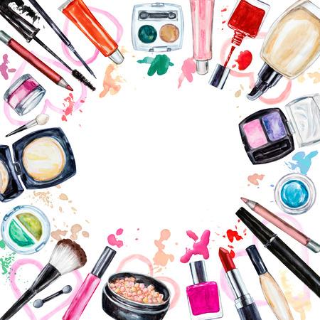 applicator: Frame of various watercolor decorative cosmetic