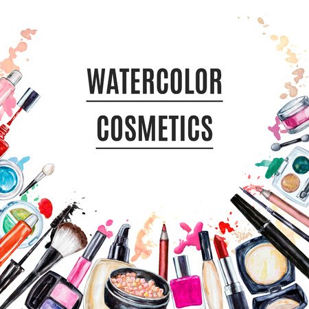makeup a brush: Frame of various watercolor decorative cosmetic