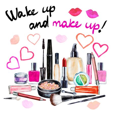 applicator: Set of various watercolor decorative cosmetic Stock Photo