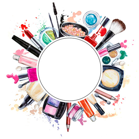 Frame of various watercolor decorative cosmetic