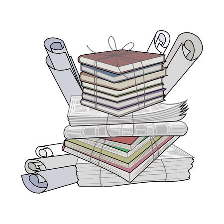 Papel de desecho. residuos y basura de papel adecuado para el reciclaje. Reciclaje de cartón, papel viejo. Ilustración del vector