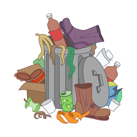 disposed: Overflowing trash recycle bin. Waste have been disposed improperly around the dust bin. Garbage can is full of trash. Trash on the ground. Vector Illustration