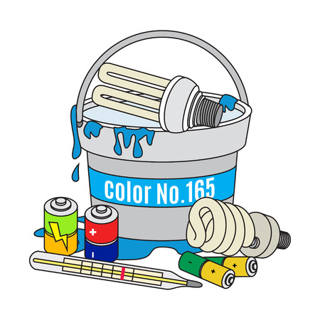 dispose: Used light bulbs, batteries, thermometer and paint. Electrical and dangerous waste. Waste management concept. Vector Illustration