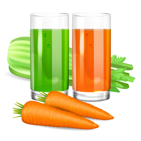 food drink: Glass with celery and carrot juice. Celery and carrot. Natural vegetable drink, healthy organic food. Realistic vector illustration Illustration